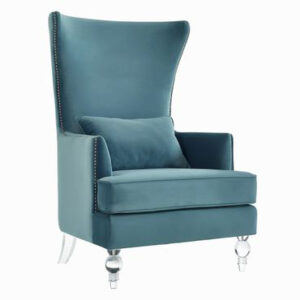 "The ""Bristol"" Chair in Sea Blue Velvet"