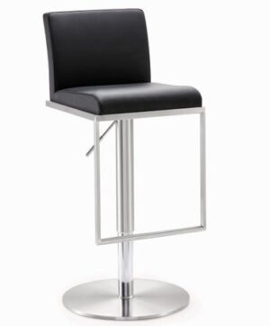 "The ""Amalfi"" Adjustable Barstool in Black Faux Leather"