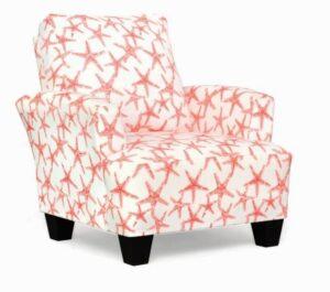 """#545 – """"Madison"""" Accent Chair in Salmon Sea Friends Slub"""