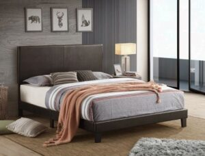 "#5281 – The ""Yates"" Platform Bed in Black PU"