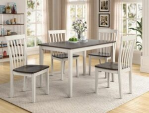 "#2182WH-GY – The ""Brody"" Dining Set in White/Grey"