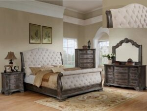 "#B1120-88 – The ""Sheffield"" Sleigh Bedroom in Antique Grey"