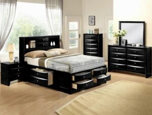 "#B4285 – The ""Emily"" Storage Bedroom in Black"