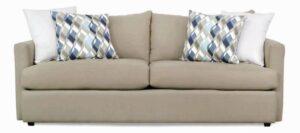 "#9100 – The ""Mckenzie"" Sofa Set in Dyed Solid Kelp/Big Sir Ivory/Finley Awendela"