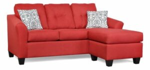 "#5650 – The ""Harmony"" Sectional in Oscar Red/Abigail Flamingo Grey"