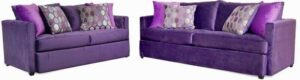 "#9100 – The ""Mckenzie"" Sofa Set in Liberty Aubergine/Liberty Dahlia/Mallorca Fig"