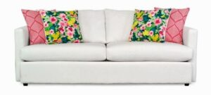 "#9100 – The ""Mckenzie"" Sofa Set in Big Sir Ivory/McCambo Strawberry/Rousham Romp Strawberry"