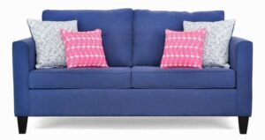 """#5950 – The """"Allison"""" Sofa Set in Dyed Solid Blue/Exit Marine/Flamingo Candy Pink"""