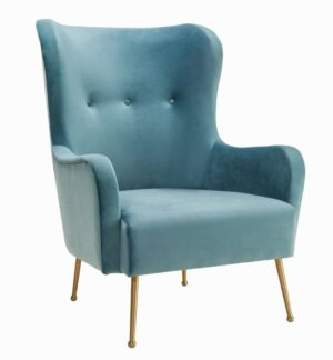 "The ""Ethan"" Chair in Sea Blue Velvet"