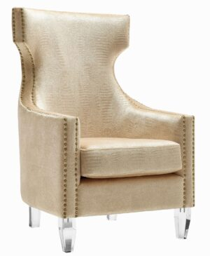 "The ""Gramercy"" Chair in Gold Croc Print Velvet"