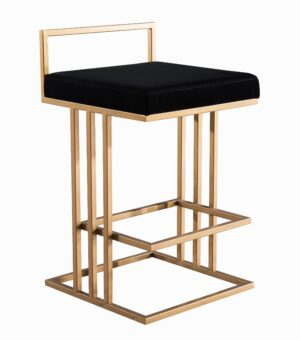 "The ""Trevi"" Counter Stool in Black Velvet"