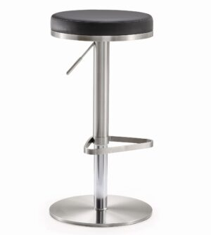 "The ""Fano"" Adjustable Barstool in Black Faux Leather"