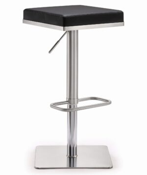 "The ""Bari"" Adjustable Barstool in Black Faux Leather"