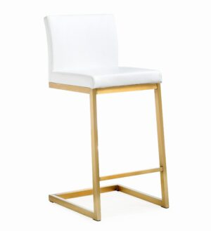 "The ""Parma"" Counter Stool in White/Gold – Set of 2"