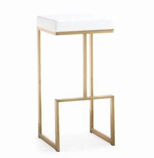"The ""Ferrara"" Barstool in White Faux Leather with Gold – Set of 2"