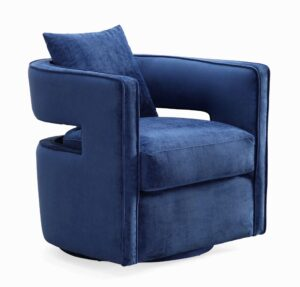 "The ""Kennedy"" 360 Swivel Chair in Navy Textured Velvet"