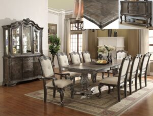 "#2151 – The ""Kiera"" Dining Set in Grey"