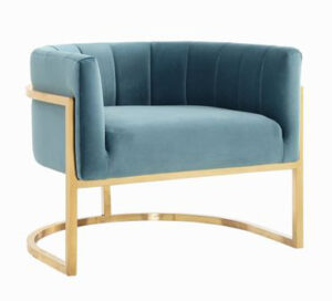 "The ""Magnolia"" Chair in Sea Blue Velvet with Gold"