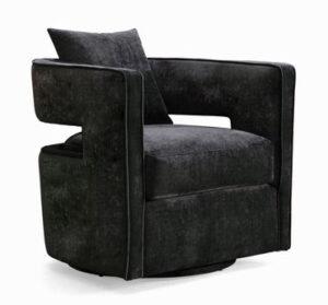 """The """"Kennedy"""" 360 Swivel Chair in Black Textured Velvet"""