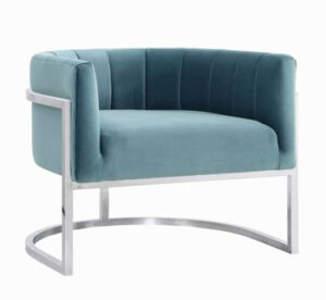 "The ""Magnolia"" Chair in Sea Blue Velvet with Silver"