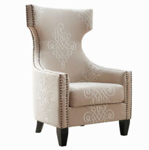 "The ""Gramercy"" Chair in Beige Embroidered Linen"