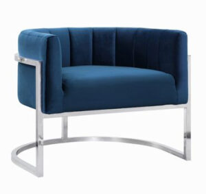 "The ""Magnolia"" Chair in Navy Velvet with Silver"