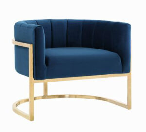 "The ""Magnolia"" Chair in Navy Velvet with Gold"
