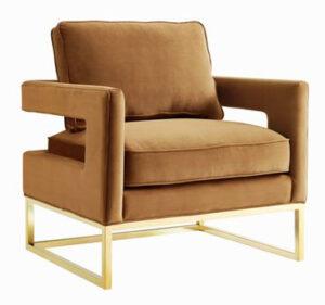 """The """"Avery"""" Chair in Cognac Velvet"""