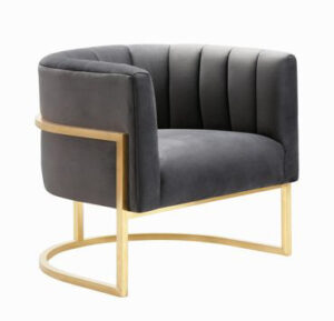 "The ""Magnolia"" Chair in Grey Velvet with Gold"