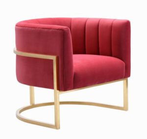 "The ""Magnolia"" Chair in Hot Pink Velvet with Gold"