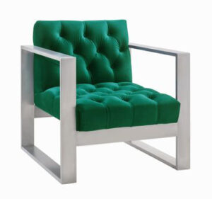 "The ""Oliver"" Chair in Green Velvet with Silver"