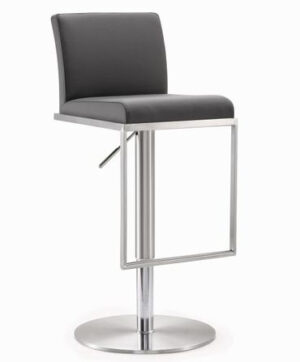 "The ""Amalfi"" Adjustable Barstool in Grey Faux Leather"