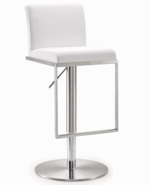 "The ""Amalfi"" Adjustable Barstool in White Faux Leather"