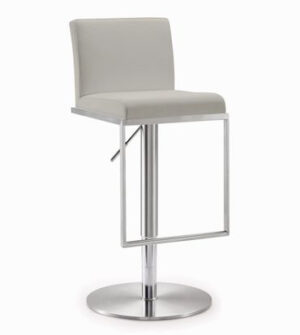 "The ""Amalfi"" Adjustable Barstool in Light Grey Faux Leather"