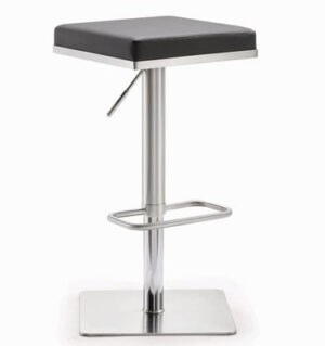 "The ""Bari"" Adjustable Barstool in Grey Faux Leather"