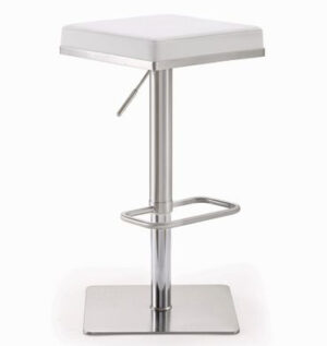 "The ""Bari"" Adjustable Barstool in White Faux Leather"
