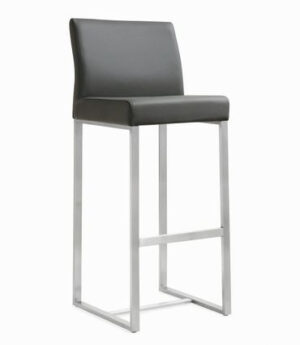 "The ""Denmark"" Stool in Grey Faux Leather – Set of 2"