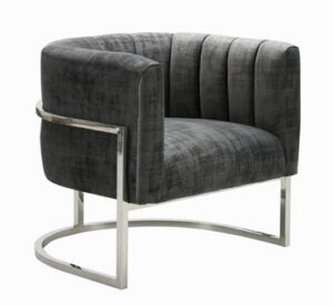 "The ""Magnolia"" Chair in Grey Textured Velvet with Silver"