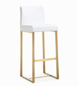 "The ""Denmark"" Stool in White Faux Leather with Gold – Set of 2"