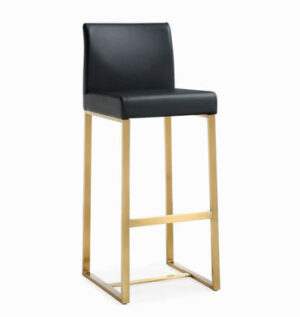 "The ""Denmark"" Stool in Black Faux Leather with Gold – Set of 2"