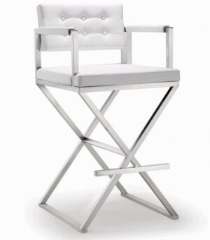 "The ""Director"" Stool in White Faux Leather"
