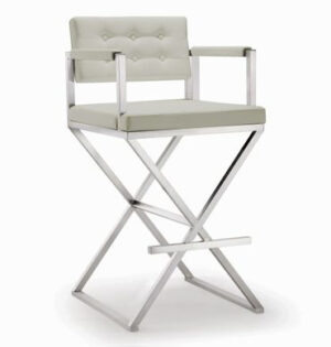 "The ""Director"" Stool in Light Grey Faux Leather"