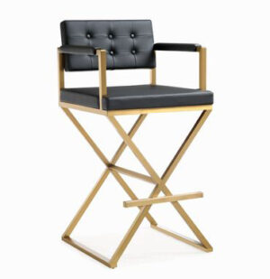 "The ""Director"" Stool in Black Faux Leather with Gold"