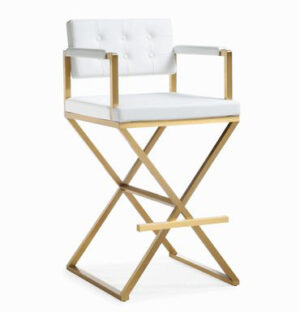 "The ""Director"" Stool in White Faux Leather with Gold"