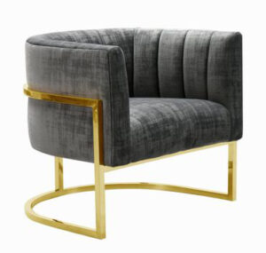 "The ""Magnolia"" Chair in Grey Textured Velvet with Gold"