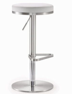 "The ""Fano"" Adjustable Barstool in White Faux Leather"