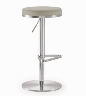 "The ""Fano"" Adjustable Barstool in Light Grey Faux Leather"