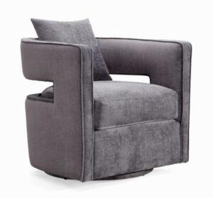 """The """"Kennedy"""" 360 Swivel Chair in Grey Textured Velvet"""