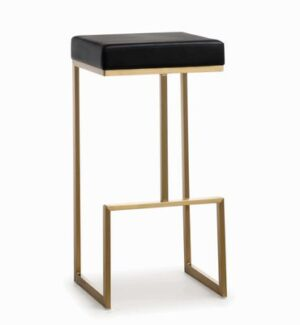 "The ""Ferrara"" Barstool in Black Faux Leather with Gold – Set of 2"