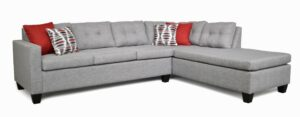 """#118 – The """"Luna"""" Sectional in Oscar Sterling/Oscar Red/Lava Red"""